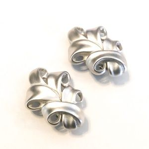GIVENCHY Vintage Silver Tone Scroll Earrings